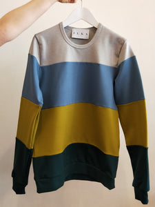 Contour Sweater, knit sweater with four colour horizontal panels