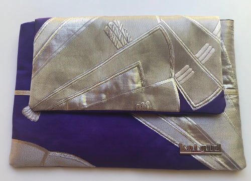 Royal Purple and Silver Fan Clutch