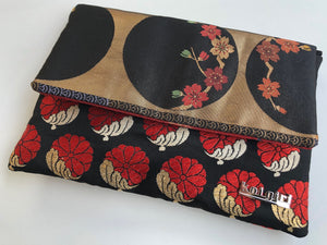 Black, Gold and Red Plum Blossom Clutch