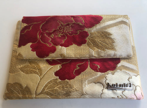 Gold and Magenta Peony Clutch