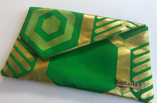 Emerald Green and Gold Pine Clutch