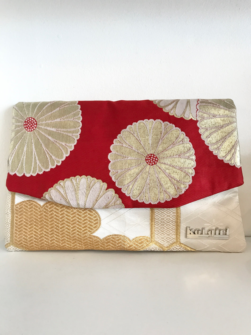 Red and Gold Floral Clutch
