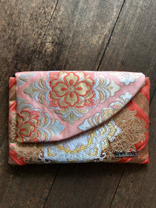 Pink and Gold Floral Clutch