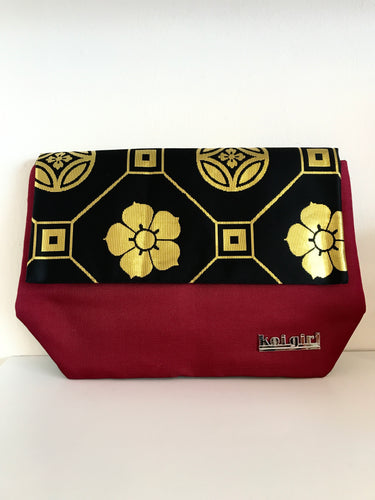 Black and Burgundy Flowers Clutch
