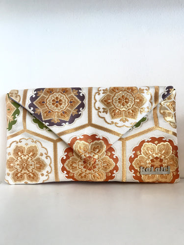 White and Gold Floral Clutch