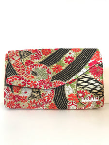 Red and Black Floral Clutch