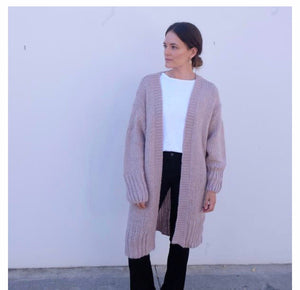 Hello Parry - Kara Longline Knit Coatigan - Dusty Pink