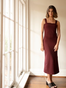 Palm Knit Dress - Maroon
