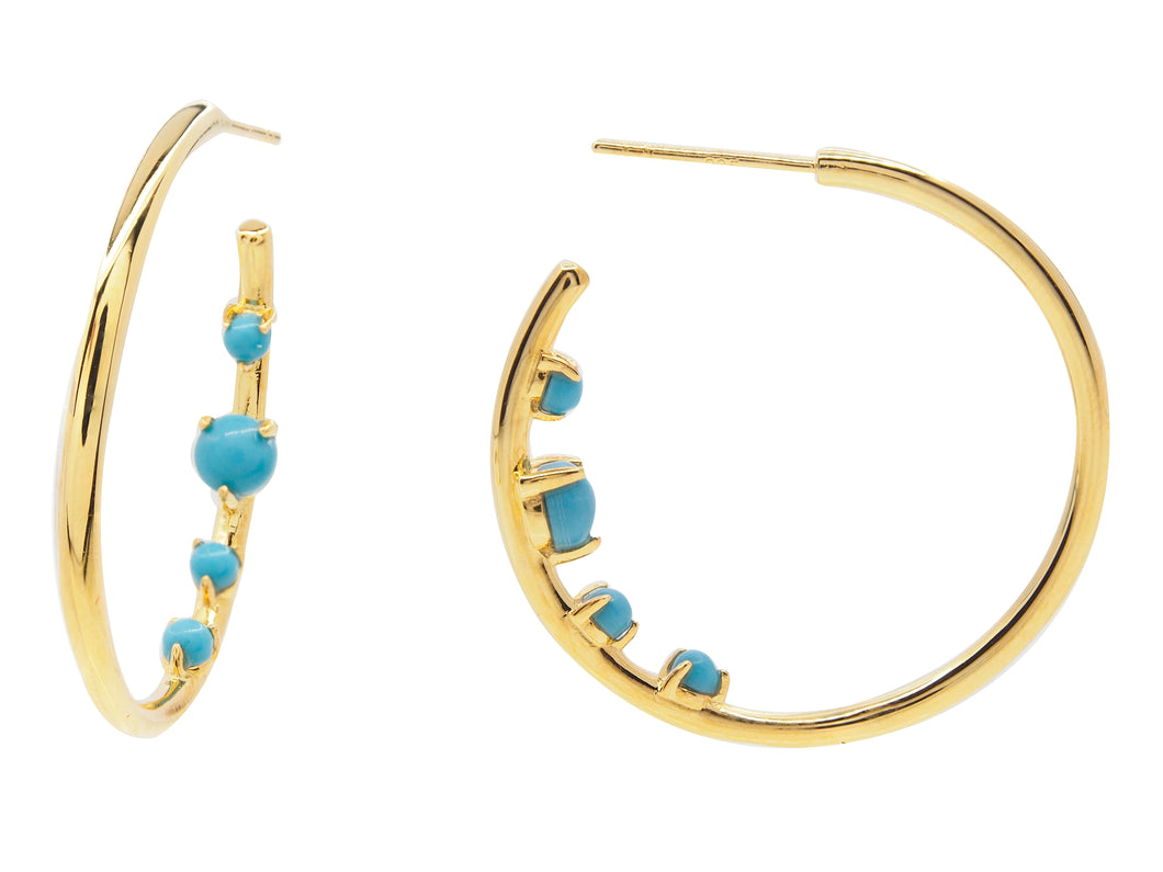 Castle Bay Hoop Earrings - Turquoise