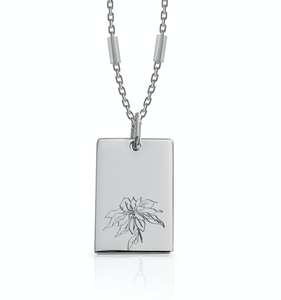 DECEMBER / Poinsettia - Silver (Rhodium Plated)