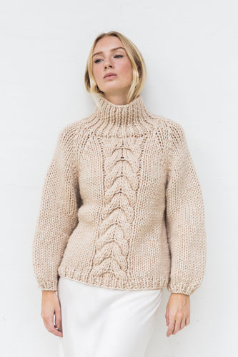 Rayne High Neck Cable Jumper - Sand
