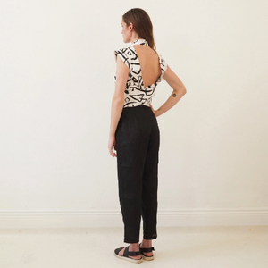 Party Up Pants - Black Linen