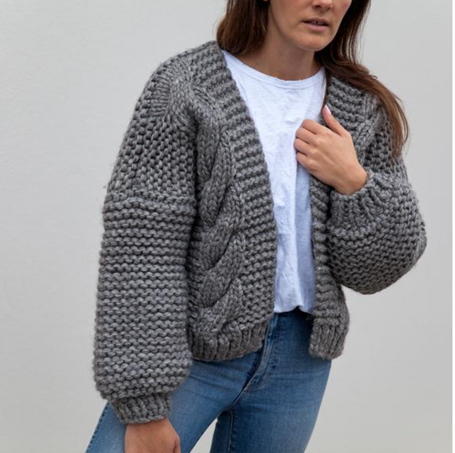 Hello Parry - Nia Cable Knit Cardigan - Charcoal