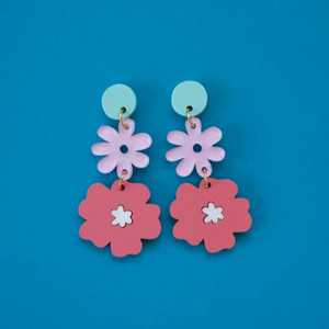 70's Flora Chain - Blue + Pastel Pink + Pink