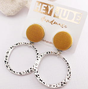 Antique Silver Hoops / Mustard
