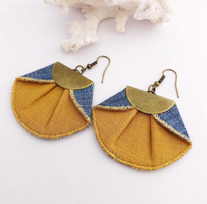 Pleated Denim Dangles / Mustard + Denim