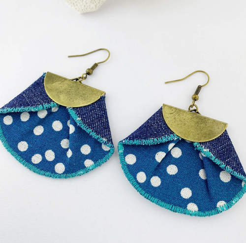 Pleated Denim Dangles - Spots