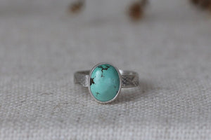 Tibetan Turquoise Ring - Patterned Band