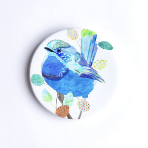Splendid Blue Wren Ceramic Coaster
