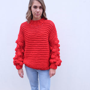 Zarena Bubble Knit Sweater - Red