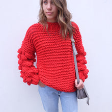 Load image into Gallery viewer, Zarena Bubble Knit Sweater - Red