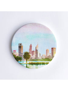 Perth City Skyline Ceramic Coaster