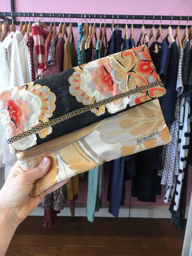 Black Salmon Pink Gold Floral Clutch