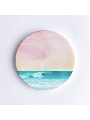 Solo Surfer at Leighton Beach Ceramic Coaster