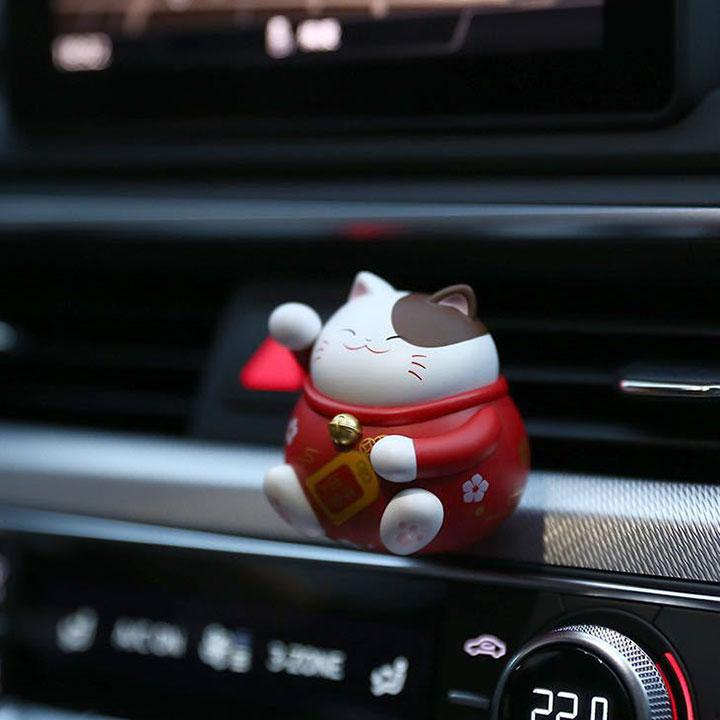 【★★★Lucky with you 】Discount Up to 30% OFF Today!! Lucky cat Car fragranceRed+MARINE PERFUME
