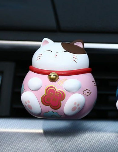 【★★★Lucky with you 】Discount Up to 30% OFF Today!! Lucky cat Car fragrancePink+MARINE PERFUME