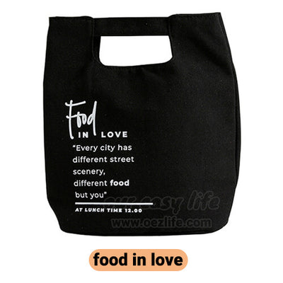 black stylish canvas lunch bag for women