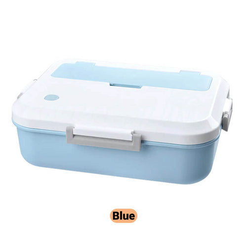blue simple plastic lunch box for adults and kids