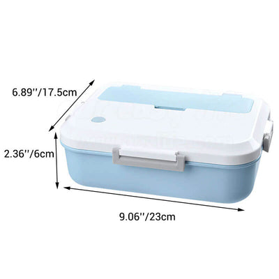 dimension of blue simple plastic lunch box for adults and kids