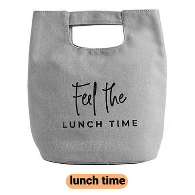 gray stylish canvas lunch bag for women