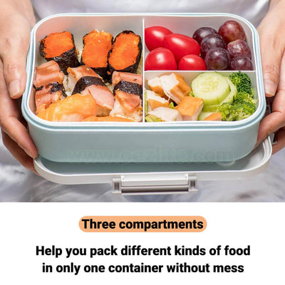 simple plastic lunch box for adults and kids feature with three compartments
