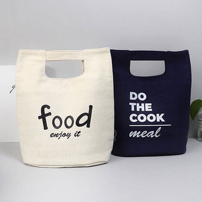 two stylish lunch bags for women to work gray and black