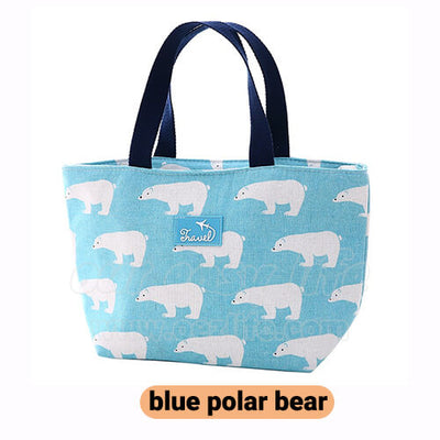 blue women lunch tote bag