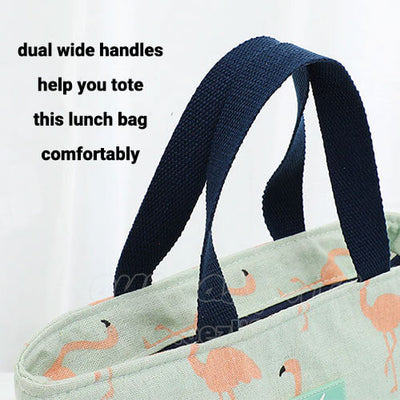 fashionable women lunch tote bag with dual wide handles