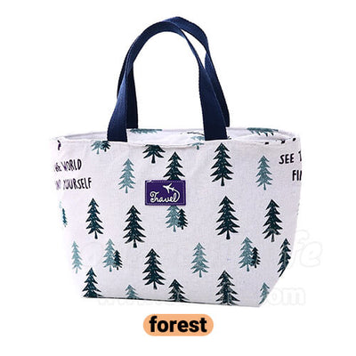 fashionable women lunch tote bag with forest pattern