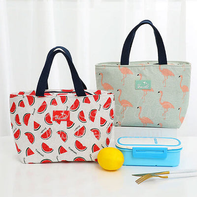 flamingo and watermelon stylish lunch tote bag for women on desk