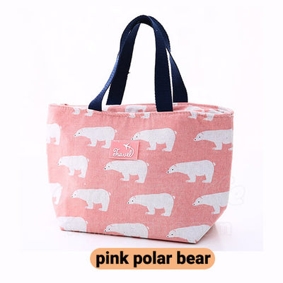 light pink women lunch tote bag