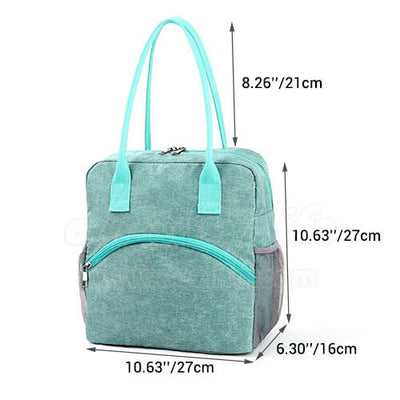 dimension of stylish insulated large women  lunch bag purse