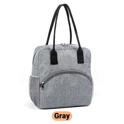 gray large stylish insulated women lunch bag purse