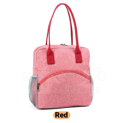 red stylish insulated large lunch bag purse for women