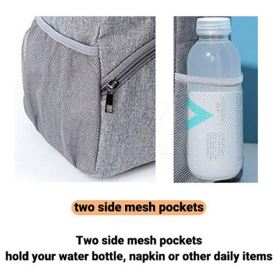 stylish insulated large women zippered lunch bag purse with side pocket and water bottle holder