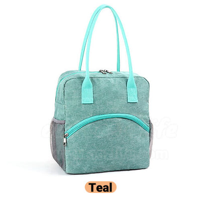 teal stylish insulated large women lunch bag purse