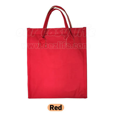 red designer insulated foldable women lunch bag purse for work