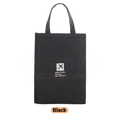 black stylish large foldable lunch tote bag for women men to work