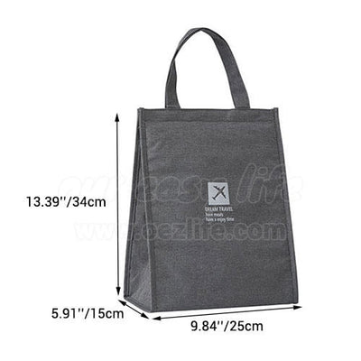 dimension of stylish large foldable lunch tote bag for women men to work