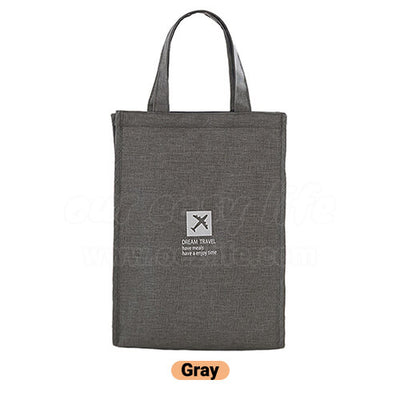 gray stylish large foldable lunch tote bag for women men to work